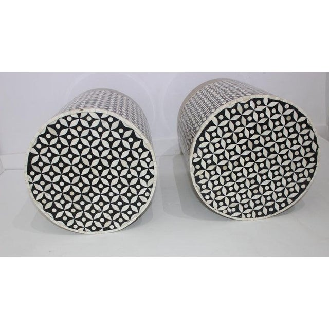 Vintage Drum Tables Tessellated Black and White Bone - a Set of 2 For Sale In West Palm - Image 6 of 13