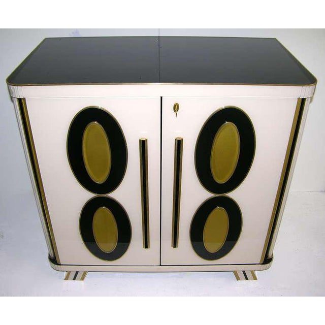 Art Deco 1970s Italian Art Deco Gold Black and White Cabinets or Sideboards - a Pair For Sale - Image 3 of 11