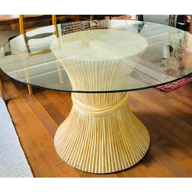 1980s Hollywood Regency Sheaf of Wheat Bamboo Pedestal Dining Table For Sale In Los Angeles - Image 6 of 7