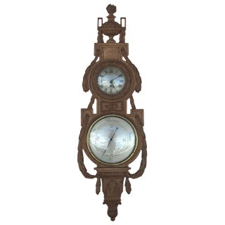Late 19th Century Antique Carved English Barometer & Clock For Sale