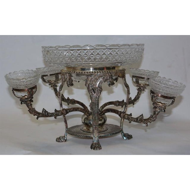Bohemian Cut Crystal & Silver Centerpiece - Image 3 of 10