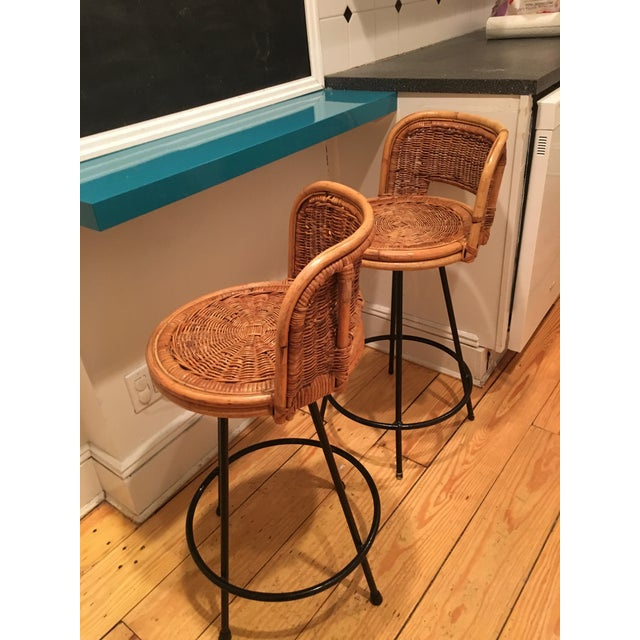 Tony Paul Style Vintage Rattan & Bamboo Swivel Bar Stools- A Pair - Image 5 of 5