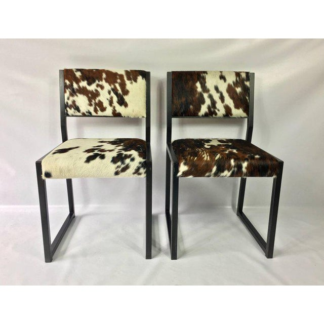 2010s Pony Skin Blackened Steel Frame Dining Chairs - Set of 4 For Sale - Image 5 of 10