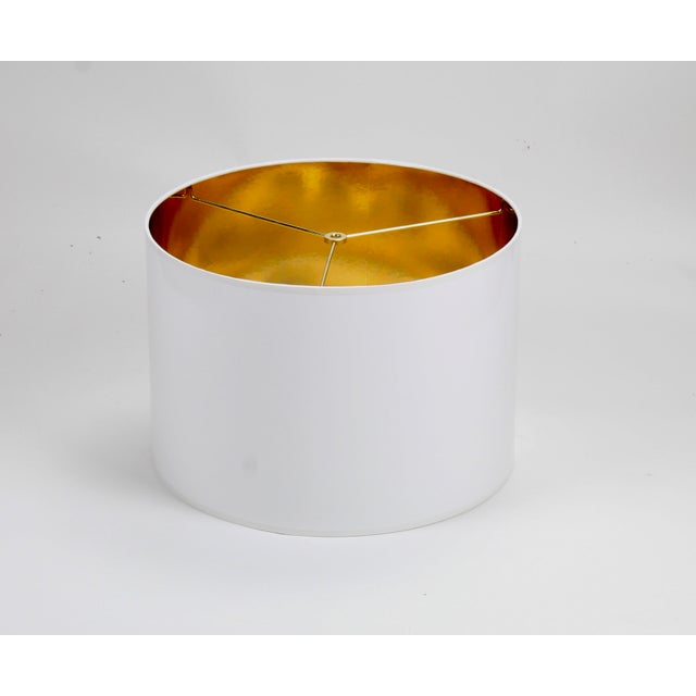 Modern White High Gloss Drum Lamp Shade With Gold Lining For Sale - Image 3 of 5
