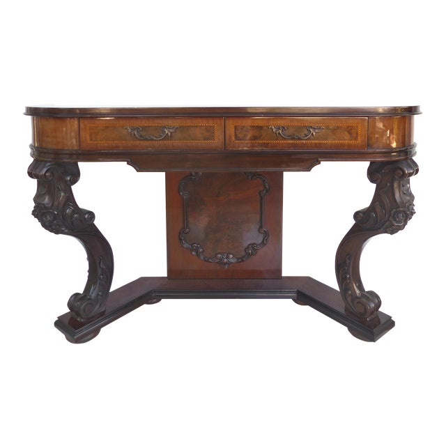 Carved Two-Drawer Console Table With Mahogany, Satinwood and Ebonized Wood For Sale