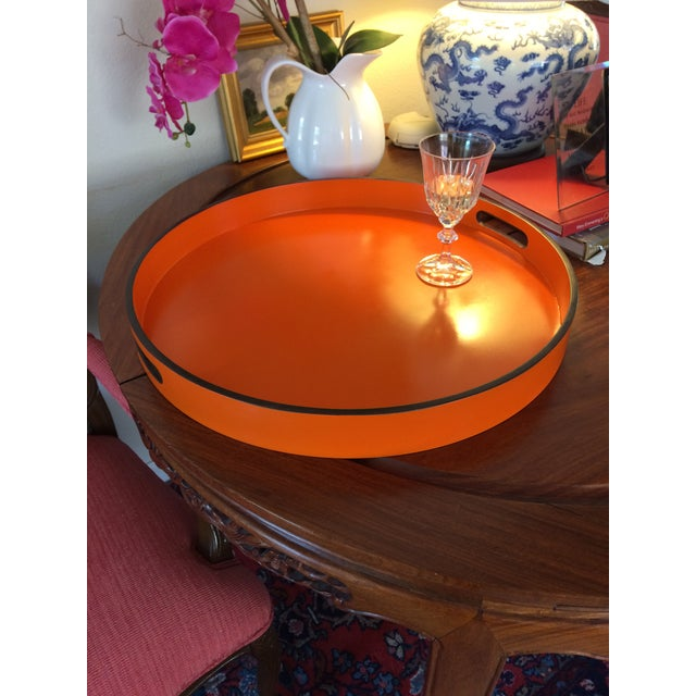 """Hermes Orange Inspired 21"""" Round Bar Serving Tray For Sale - Image 10 of 13"""
