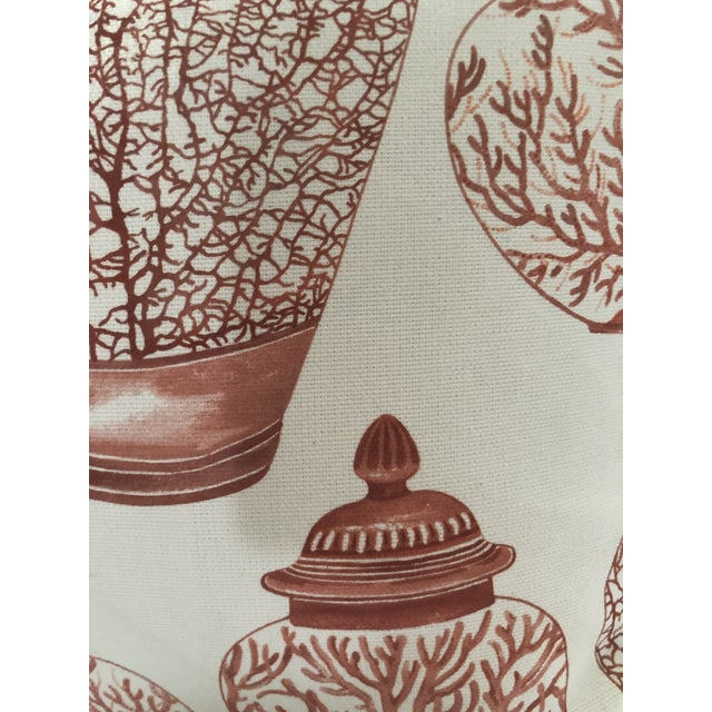 Exquisite high quality pair of red and white 100 % cotton canvas fabric with hand painted corals and ginger jars motif....