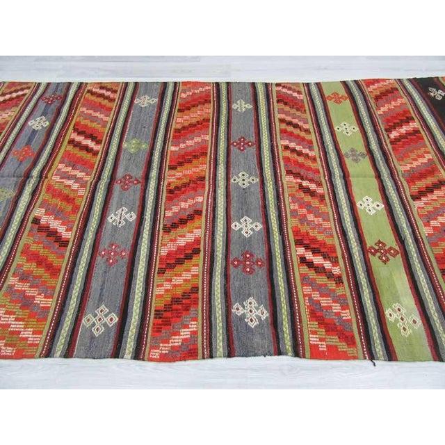 Handwoven Vintage Embroidered Turkish Kilim Rug - 5′9″ × 10′10″ For Sale - Image 4 of 6