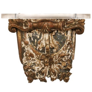 19th Century French Architectural Gilded Wood Wall Hanging Fragment Shelf For Sale