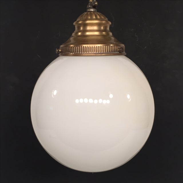 Mid-Century Modern Vintage Lavery & Co. Brass Pendant Globe Lamp For Sale - Image 3 of 7