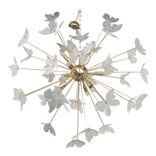 Italian Mid-Century Gold Murano Glass Butterfly Sputnik Chandelier For Sale