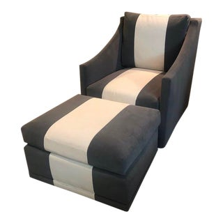 Stanford Furniture Nantucket Park Swivel Chair & Ottoman For Sale