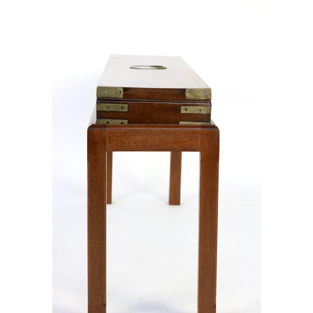 English Mahogany Campaign Gunbox on Later Mahogany Stand, Circa 1840 For Sale - Image 9 of 10