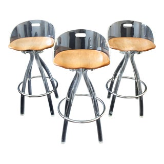 Mid Century Modern Hill Mfg Lucite Wood Saddle Seat Bar Stools- Set of 3 For Sale