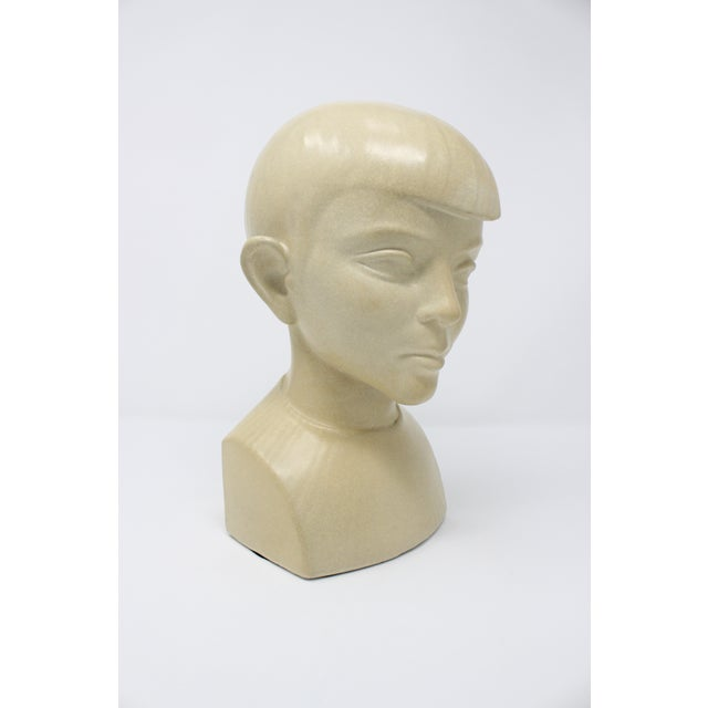 Art Deco bust by pioneering ceramicist and sculptor Waylande Gregory. The sculpture depicts a boy's head, and is in...