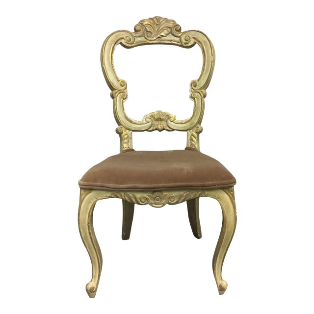 White Carved Beige Velvet Seat Chair For Sale