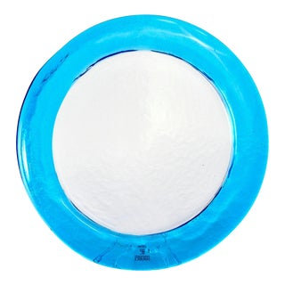 Clear Round Vetri Murano Glass Platter With Blue Rim For Sale