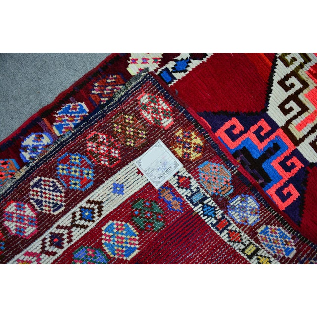 Kurdish Colorful Hand-Knotted Wool Runner Rug For Sale In Raleigh - Image 6 of 9