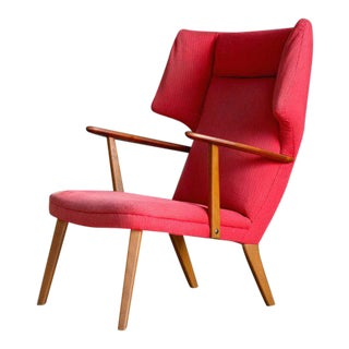 Danish 1950's Madsen and Schubell High Back Lounge Chair in Teak and Oak For Sale