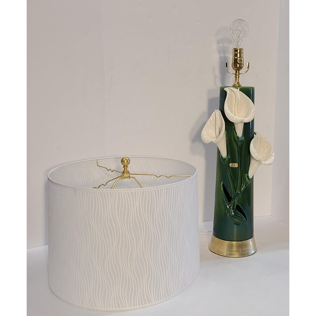 Mid-Century Modern Peace Lily Ceramic Lamp With Shade by Haeger For Sale - Image 3 of 13