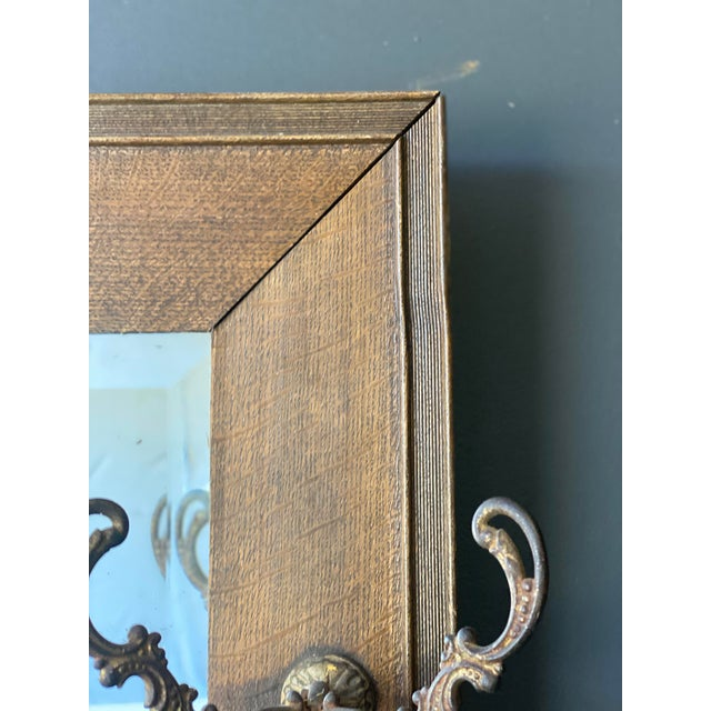 Wood 19th Century Oak Mirror With Hats Hooks For Sale - Image 7 of 10
