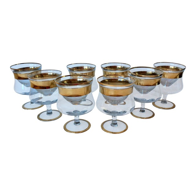 1960s Mid-Century Modern Dorothy Thorpe Gold Band Shrimp Caviar Icers - Set of 8 For Sale