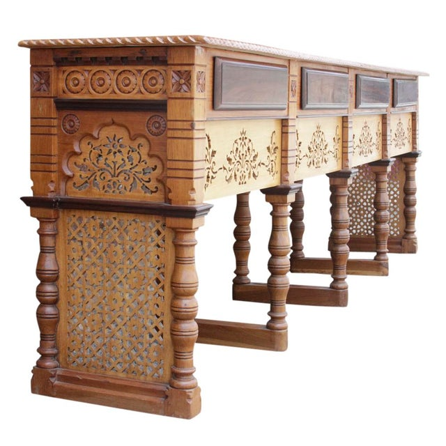 Rustic Anglo Indian Rosewood Carved Console For Sale - Image 3 of 6