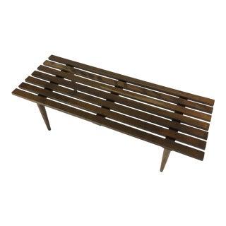1960s Vintage Slat Wood Bench For Sale