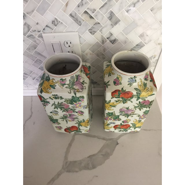 1970's Oriental Exotic Fruit Painted Vases - a Pair For Sale - Image 12 of 13