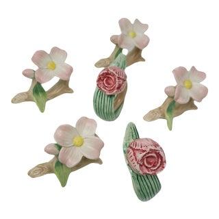 Vintage Fitz & Floyd Rose and Flower Napkin Rings - Set of 6 For Sale