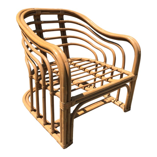 1970's Vintage Rattan Lounge Chair For Sale