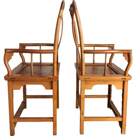 Asian High Back Antique Chinese Officials 'Bat Wing' Chairs - a Pair For Sale - Image 3 of 8