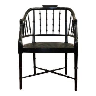 1960s Vintage Century Furniture Black Faux Bamboo Tub Chair For Sale