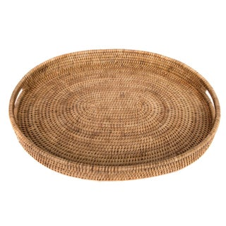 """Artifacts Rattan Oval Tray 18""""x15""""x2"""" For Sale"""