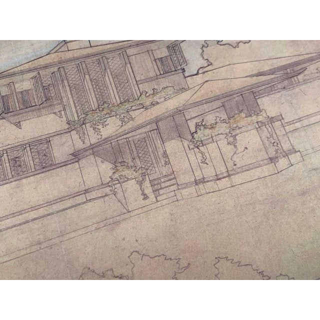 """Frank Lloyd Wright Lithograph Limited Edition """"Ee Boynton House, Ny, Framed For Sale - Image 4 of 5"""
