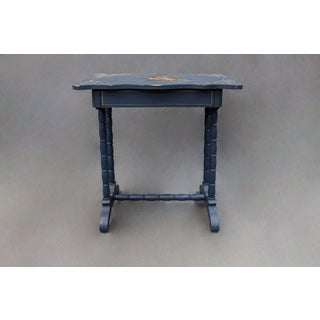Vintage Blue Painted Top Side Table With Faux Bamboo Legs Preview
