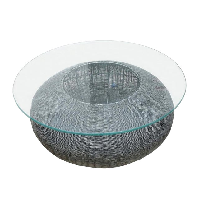 Mid-Century Modern Style Wire Weave Glass Table For Sale
