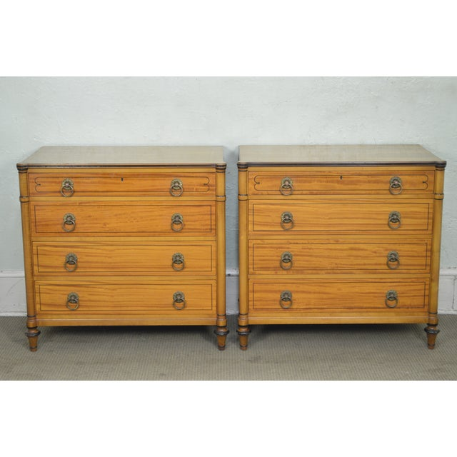 *STORE ITEM #: 17447 Kittinger Regency Style Pair of Satin Wood Chests of Drawers AGE / ORIGIN: Approx. 65 years, America...