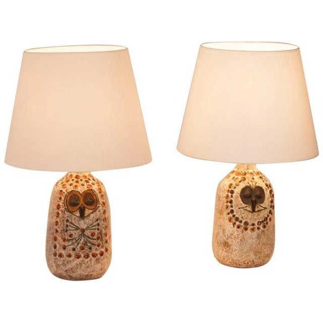 Pair of Mr. and Mrs. Owl Lamps by Raphael Giarusso Signed and Stamped, 1967 - Image 4 of 4