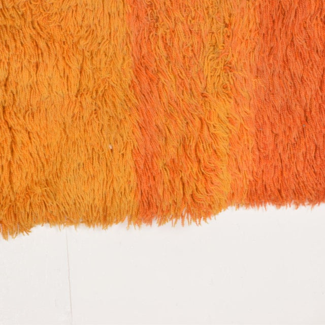 """For your consideration, a Mid Century Danish Modern Rya Rug, Yellow Red Tones. Dimensions: 78"""" x 55"""" W"""