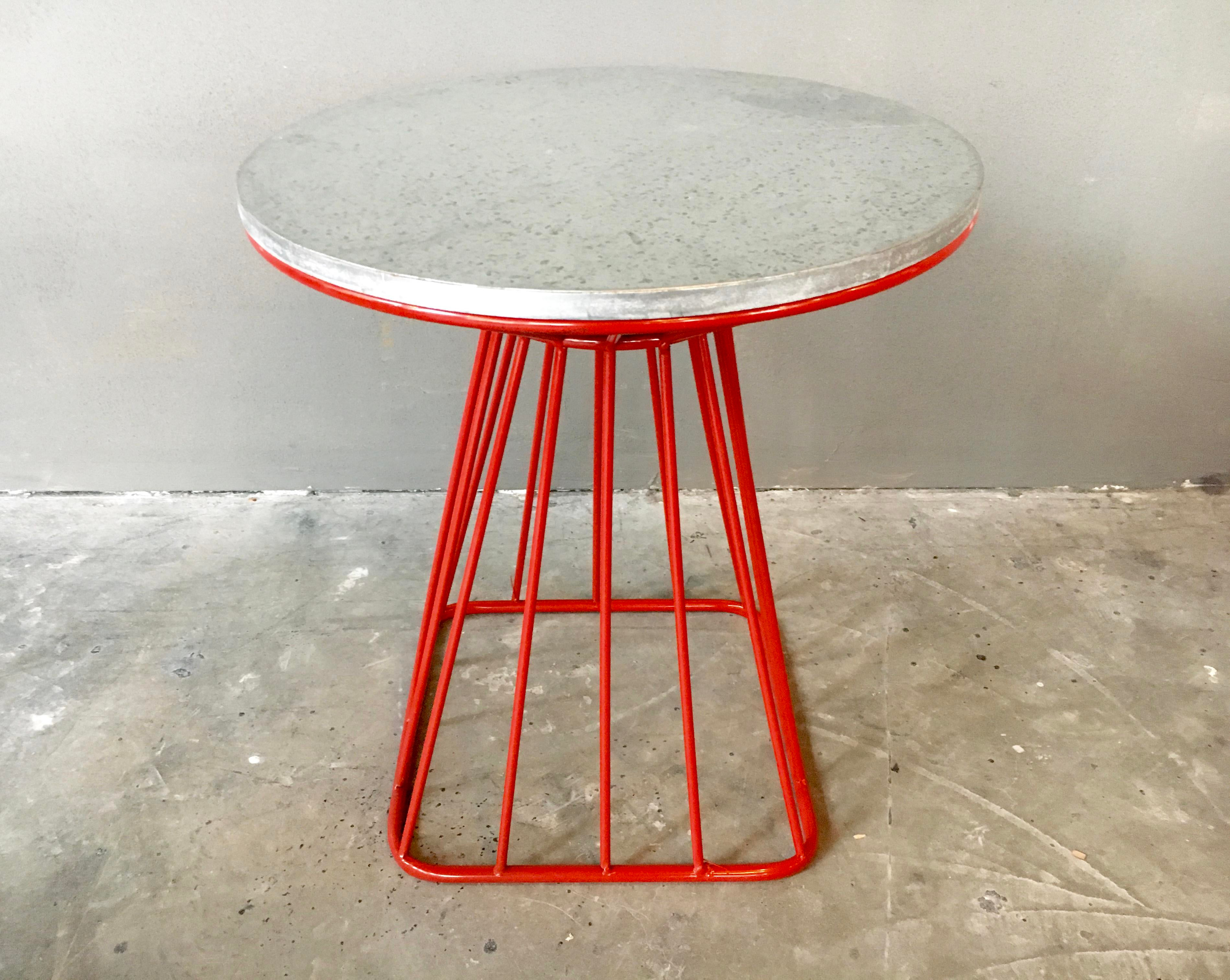 Wire side table red wire center platner style mid century red wire side tables a pair chairish rh chairish com yellow side greentooth Choice Image