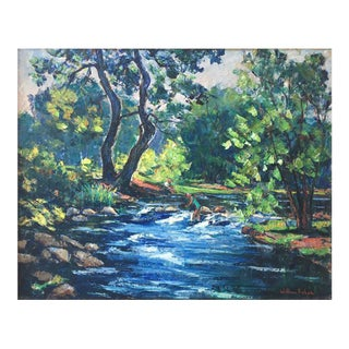 Maine River Landscape Painting by William Fisher For Sale