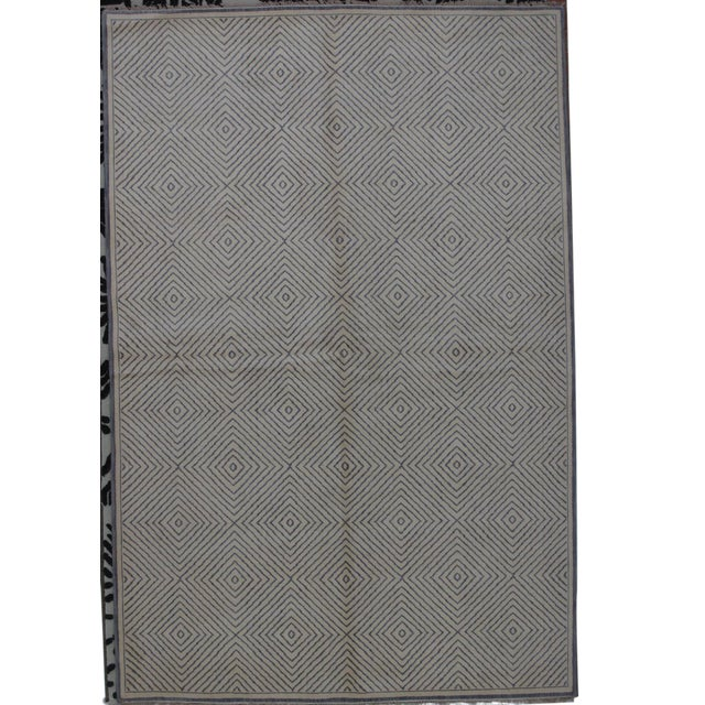 Soumak Design Contemporary Hand Woven Wool Rug - 6' X 9' - Image 1 of 5