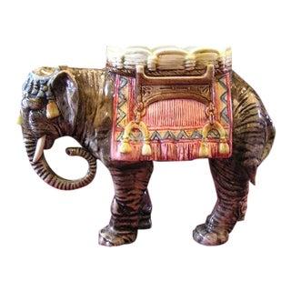 German Victorian Era Majolica Elephant For Sale