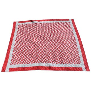 Antique Quilt - 20th Century Mini-Triangles Quilt Red and White For Sale