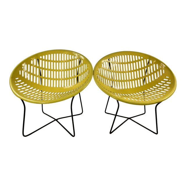 Mid Century Howard Johnson Hotel Yellow Solar Lounge Chairs - a Pair For Sale