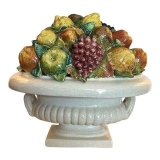 Large 1980s Italian Ceramic Fruit Compote Centerpiece For Sale