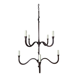 Two-Tier Eight-Light Wrought Iron Chandelier by Mla For Sale