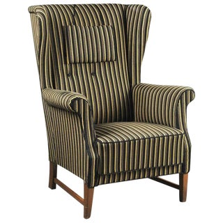 1940s Danish High Back Wingback Chair For Sale