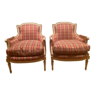 Late 19th Century French Louis XVI Style Painted and Gilded Bergere Chairs - a Pair For Sale
